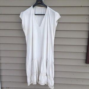 Antique white cotton slip w/ lace Victorian